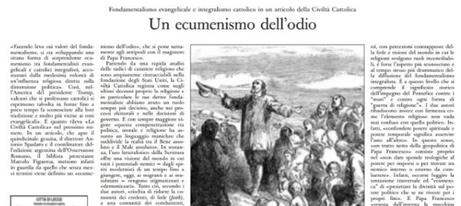 L'Osservatore Romano arremete contra los católicos 'fundamentalistas'