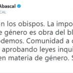 Abascal responde a los obispos que 'la imposición de la ideología de género es obra del bloque PP-PSOE-Cs-Podemos'